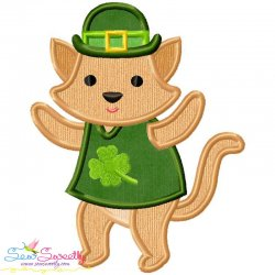 St. Patrick's Day Lucky Cat Applique Design