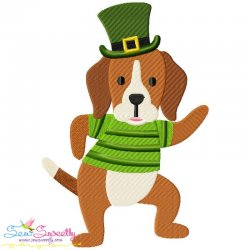 St. Patrick's Day Lucky Dog Embroidery Design Pattern- Category- St. Patrick's Day Designs- 1