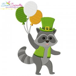 St. Patrick's Day Lucky Raccoon Embroidery Design Pattern- Category- St. Patrick's Day Designs- 1