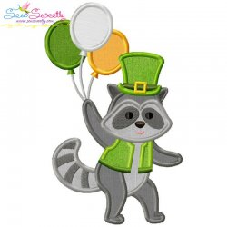 St. Patrick's Day Lucky Raccoon Applique Design Pattern- Category- St. Patrick's Day Designs- 1