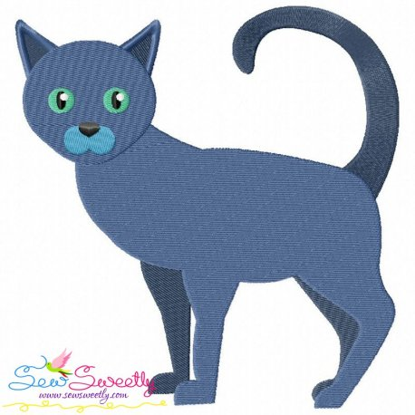 Russian Blue Cat Embroidery Design
