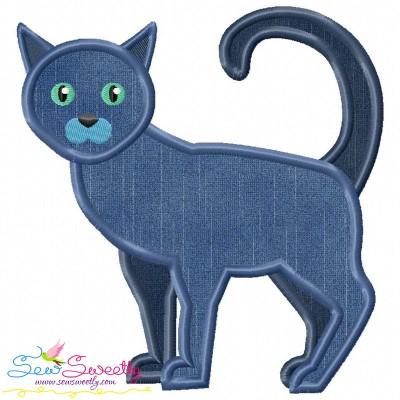 Russian Blue Cat Applique Design