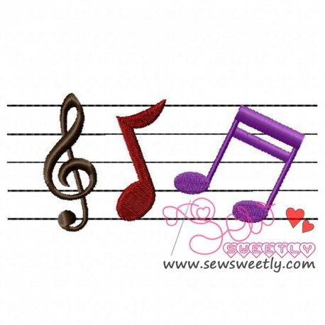 Music Notes Embroidery Design Pattern- Category- Music And Dance Designs- 1