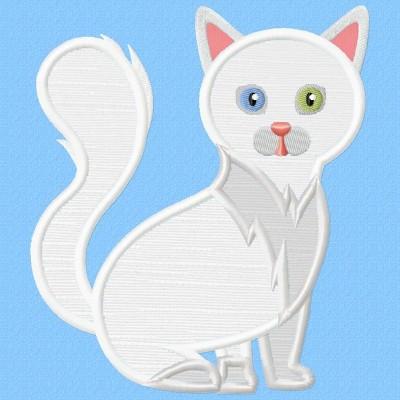 Turkish Angora Cat Applique Design
