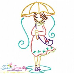 Girl and Umbrella-9 Embroidery Design