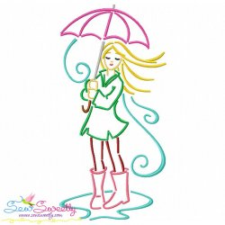 Girl and Umbrella-8 Embroidery Design