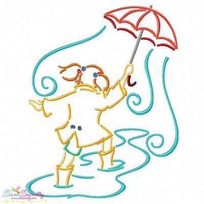 Girl and Umbrella-7 Embroidery Design