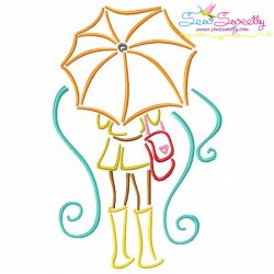 Girl and Umbrella-6 Embroidery Design