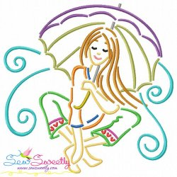 Girl and Umbrella-5 Embroidery Design