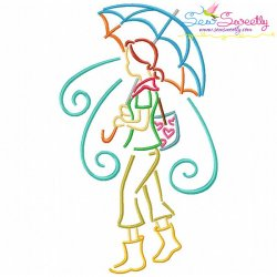 Girl and Umbrella-3 Embroidery Design