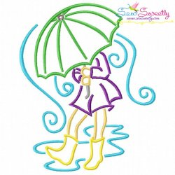 Girl and Umbrella-2 Embroidery Design
