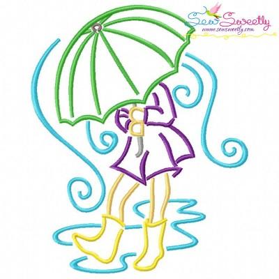 Girl and Umbrella-2 Embroidery Design