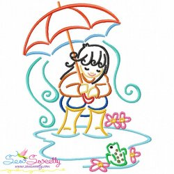 Girl and Umbrella-4 Embroidery Design