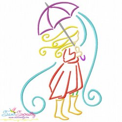 Girl and Umbrella-1 Embroidery Design