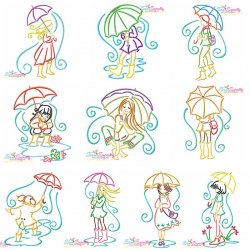 Girls and Umbrella Embroidery Design Bundle