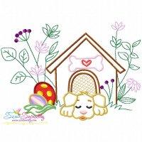 Dog Easter Eggs Hidden In The Garden-9 Embroidery Design
