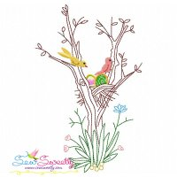 Birds Easter Eggs Hidden In The Garden-10 Embroidery Design