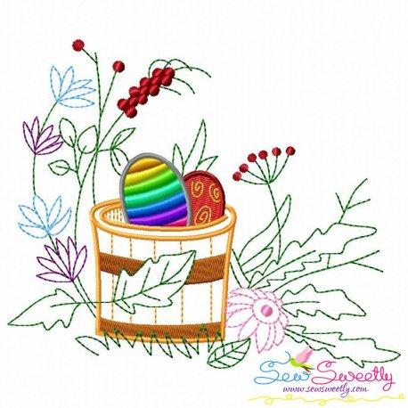 Easter Eggs Hidden In The Garden-8 Embroidery Design