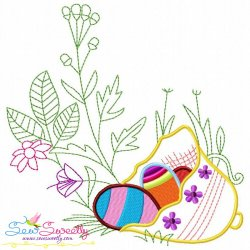 Easter Eggs Hidden In The Garden-7 Embroidery Design