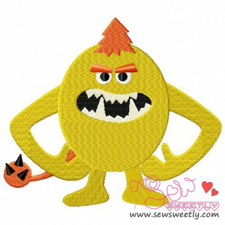 Yellow Monster Embroidery Design