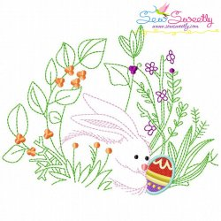 Bunny Easter Egg Hidden In The Garden-6 Embroidery Design