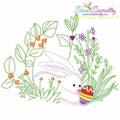 Bunny Easter Egg Hidden In The Garden-6 Embroidery Design