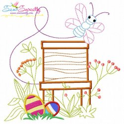 Easter Eggs Hidden In The Garden-5 Embroidery Design