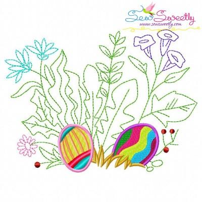 Easter Eggs Hidden In The Garden-4 Embroidery Design