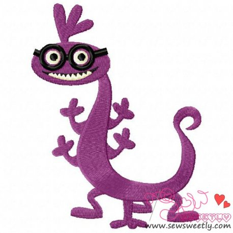 Purple Monster-2 Embroidery Design