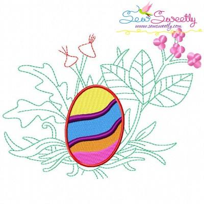 Easter Egg Hidden In The Garden-3 Embroidery Design