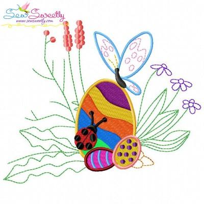 Easter Egg Hidden In The Garden-2 Embroidery Design