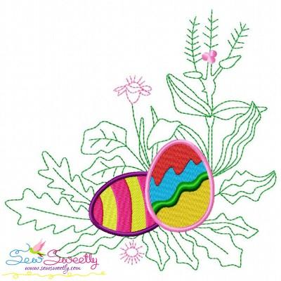 Easter Eggs Hidden In The Garden-1 Embroidery Design