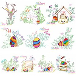 Easter Eggs Hidden In The Garden Embroidery Design Bundle