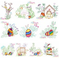 Easter Eggs Hidden In The Garden Embroidery Design Bundle