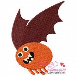 Orange Monster Embroidery Design