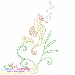 Vintage Stitch Sea Horse-8 Embroidery Design