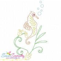 Vintage Stitch Seahorse-8 Embroidery Design