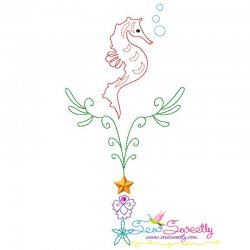 Vintage Stitch Sea Horse-6 Embroidery Design