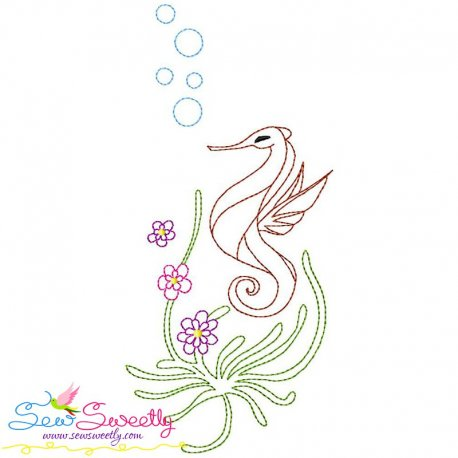 Vintage Stitch Sea Horse-7 Embroidery Design