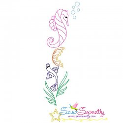 Vintage Stitch Sea Horse-5 Embroidery Design