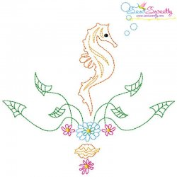 Vintage Stitch Seahorse-3 Embroidery Design