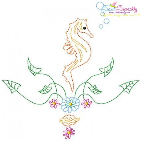 Vintage Stitch Seahorse-3 Embroidery Design