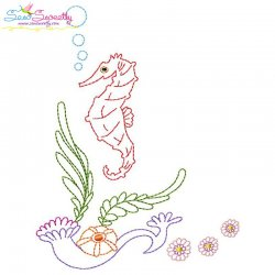 Vintage Stitch Seahorse-2 Embroidery Design