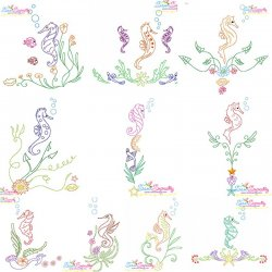Vintage Stitch Seahorses Embroidery Design Bundle