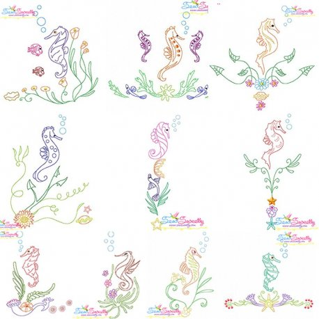 Vintage Stitch Seahorses Embroidery Design Bundle