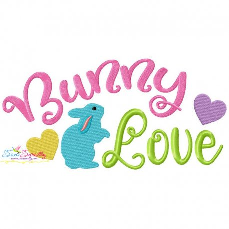 Bunny Love Lettering Embroidery Design