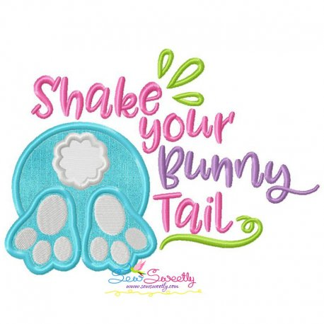 Shake Your Bunny Tail Lettering Applique Design