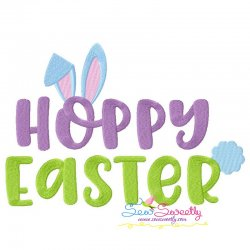 Hoppy Easter Lettering Easter Embroidery Design