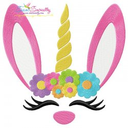 Unicorn Bunny Flowers Easter Embroidery Design