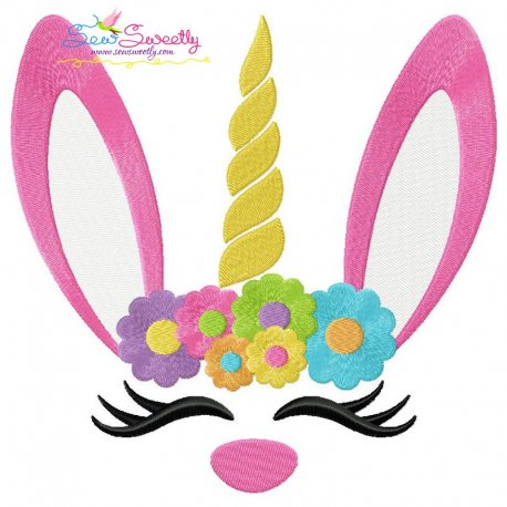 Unicorn Bunny Flowers Easter Embroidery Design Pattern- Category- Easter Designs- 1